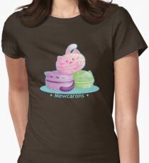 Cute Kitty Cat Macarons Women's Fitted T-Shirt