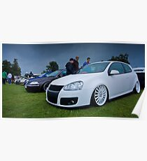 White MK5 Golf On Merc Rims Poster