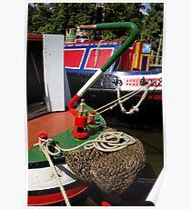 Colourfully painted narrowboats Poster
