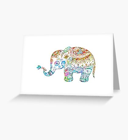 Cute Floral Elephant Glitter Texture Greeting Card