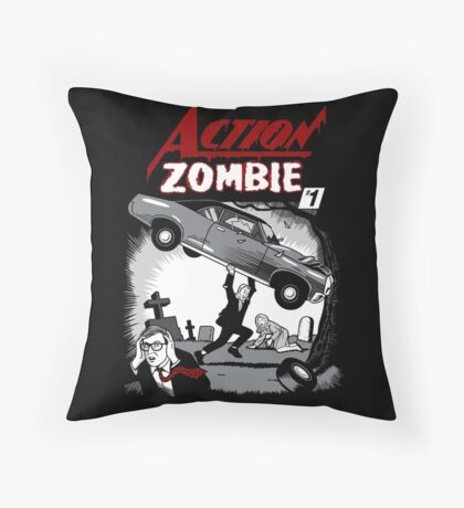 Action Zombie #1 Throw Pillow