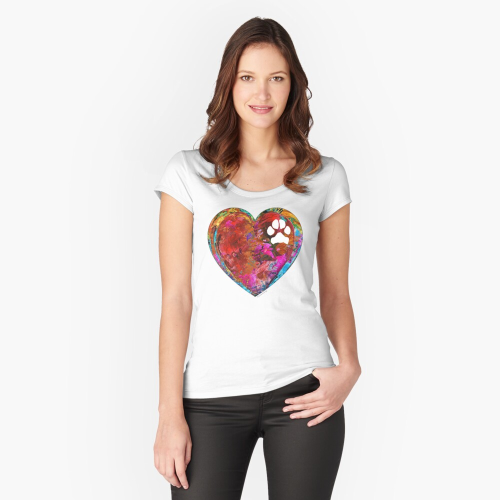 Dog Art - Puppy Love 2 - Sharon Cummings Women's Fitted Scoop T-Shirt Front
