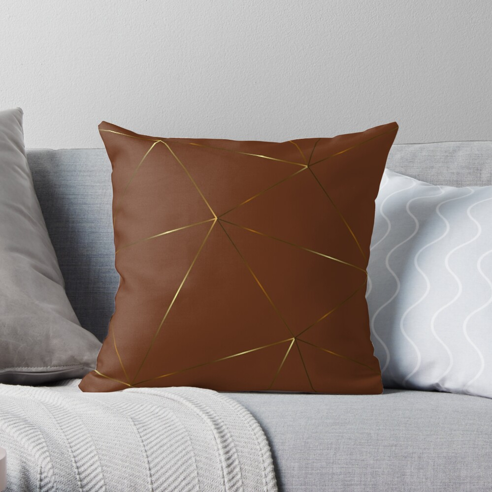 Gold rich brown geometric pattern Throw Pillow
