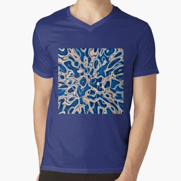 Abstraction of DarkSlateBlue Bisque V-Neck T-Shirt