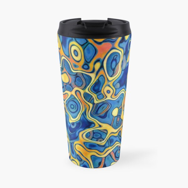 Abstraction of SteelBlue Golden Grass Travel Mug