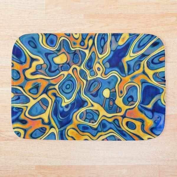 Abstraction of SteelBlue Golden Grass Bath Mat