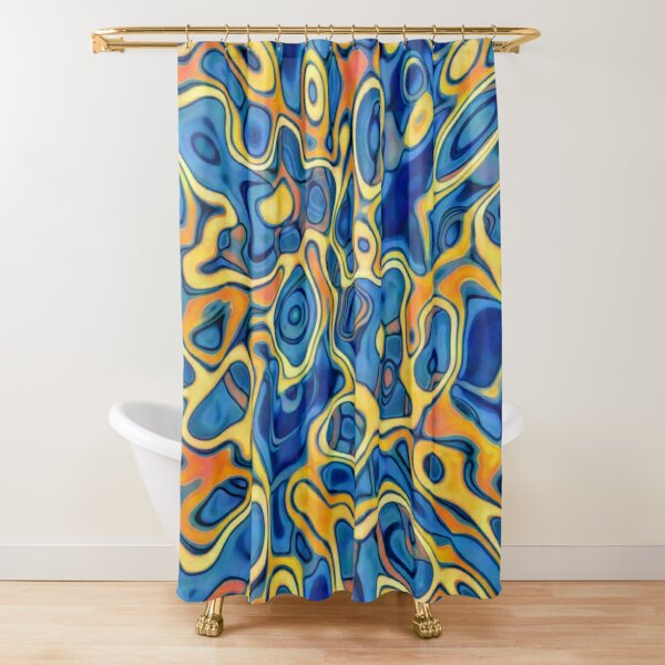 Abstraction of SteelBlue Golden Grass Shower Curtain
