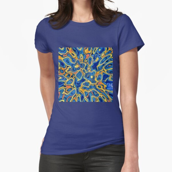 Abstraction of SteelBlue Golden Grass Fitted T-Shirt