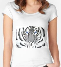 White Tiger with Piercing Blue Eyes Women's Fitted Scoop T-Shirt