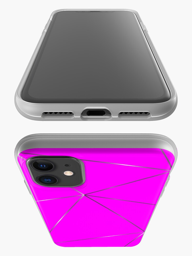 Alternate view of Silver fuchsia color geometric pattern iPhone Case & Cover