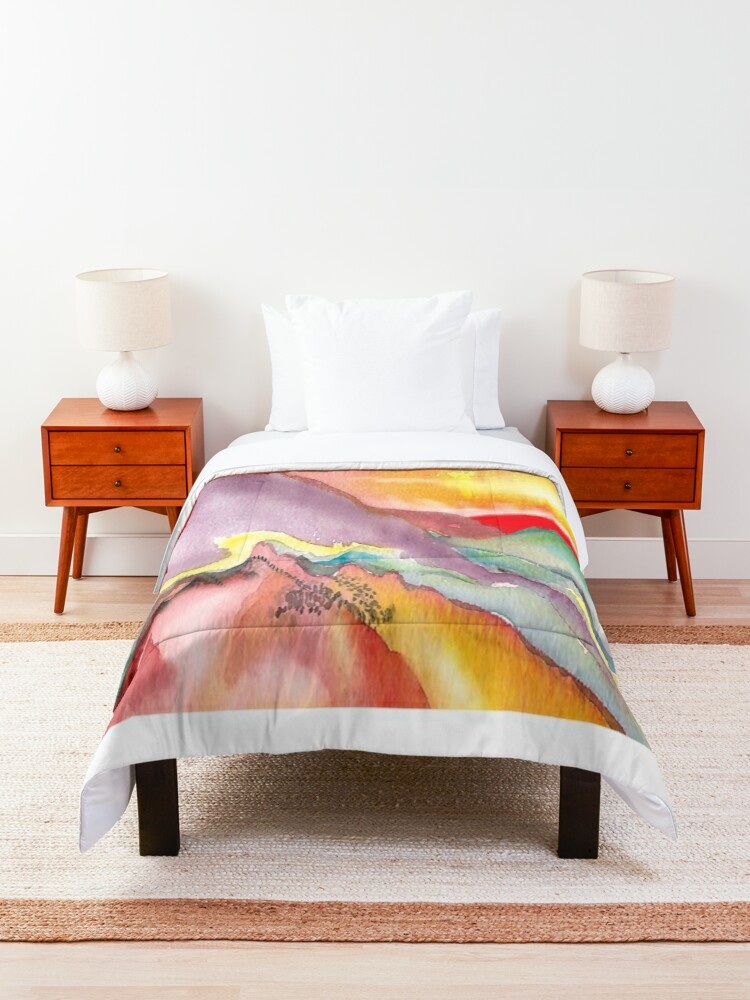 Alternate view of Red sun for a new world Comforter