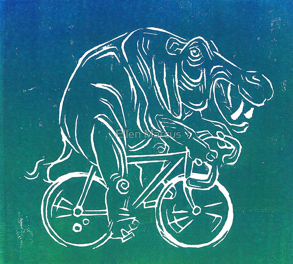 Hippo On A Bicycle Print by Ellen Marcus