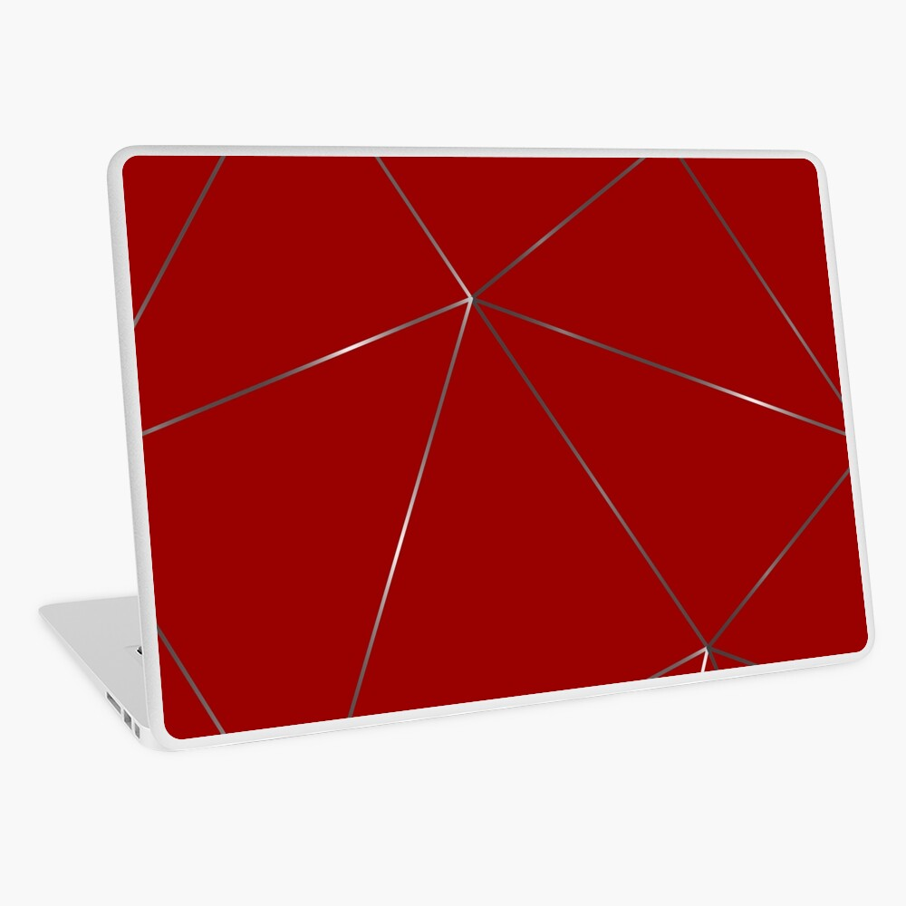 Silver stone red color geometric pattern Laptop Skin