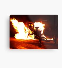 Flaming Burnout at Dragstalgia, Santa Pod Metal Print