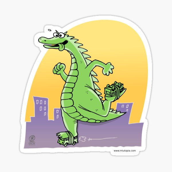 Dinosaurier-Skaten Sticker