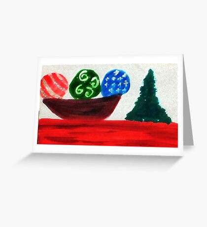 Bowl of ornaments, watercolor Greeting Card