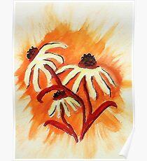 3 big head daisies, orange backround, watercolor Poster