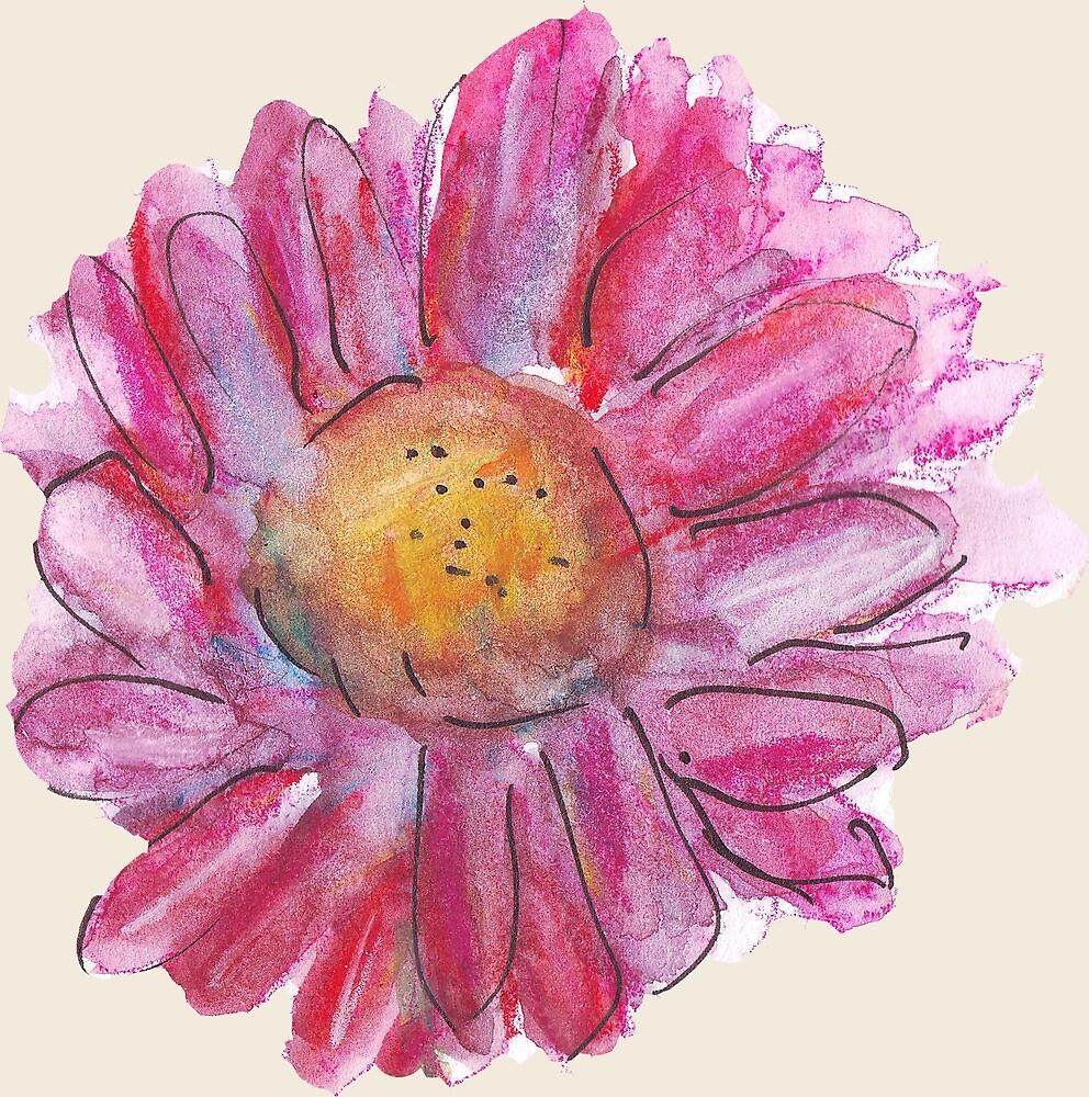 Pink Gerbera Daisy Flower/Floral Pattern by Clare Walker