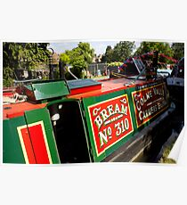Colourfully painted narrowboat Bream Poster