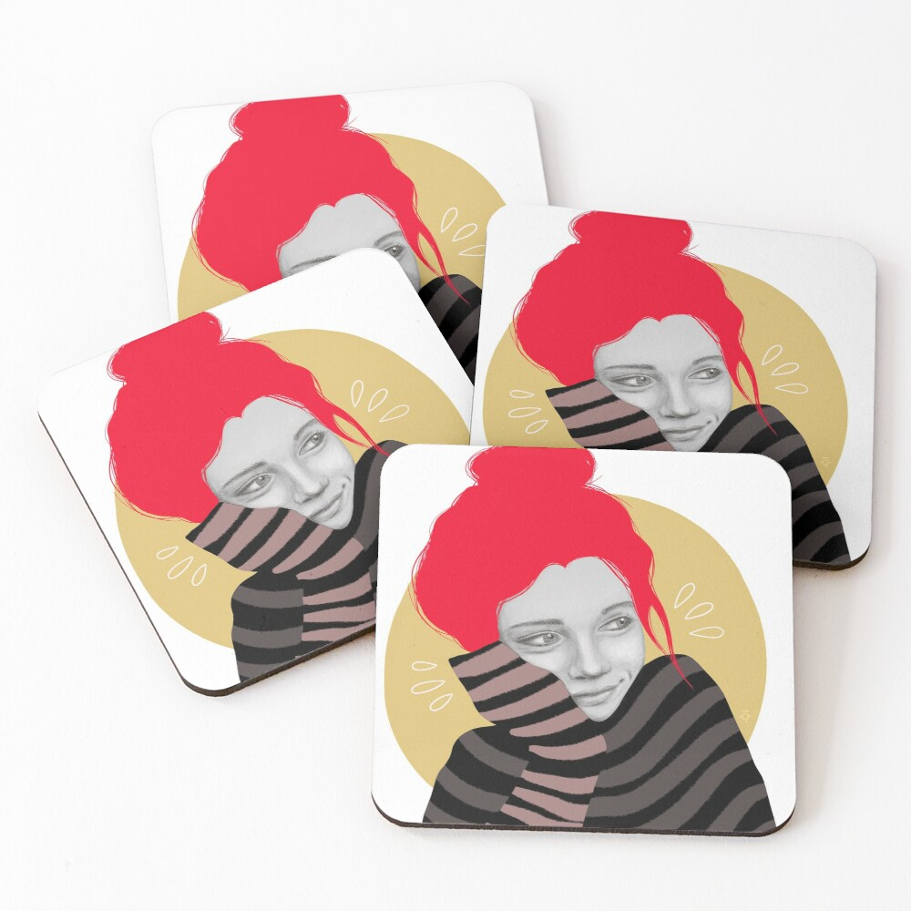 The red haired girl in love, illustration Coasters (Set of 4)