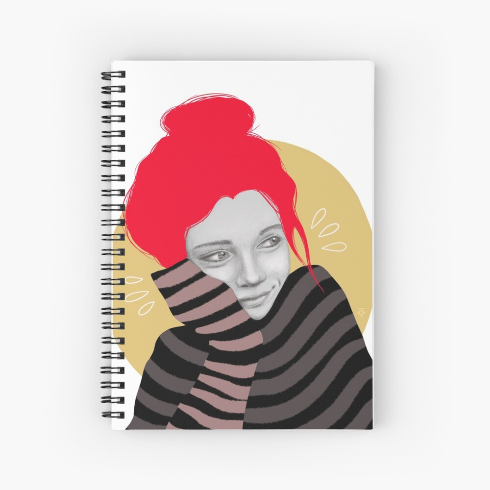 The red haired girl in love, illustration Spiral Notebook