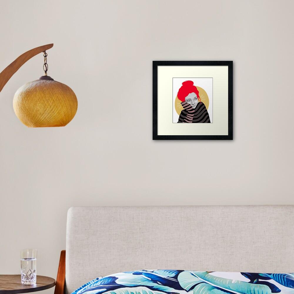 The red haired girl in love, illustration Framed Art Print