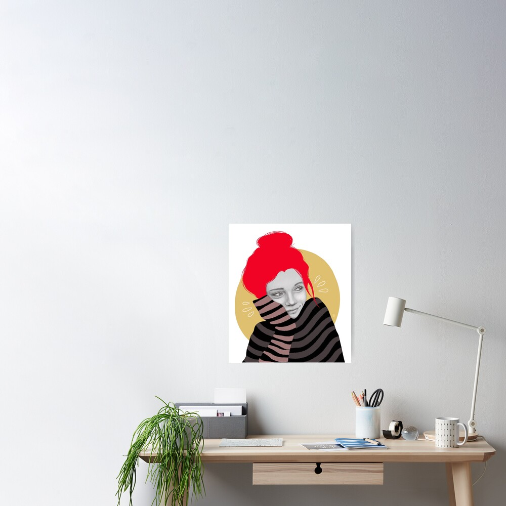 The red haired girl in love, illustration Poster
