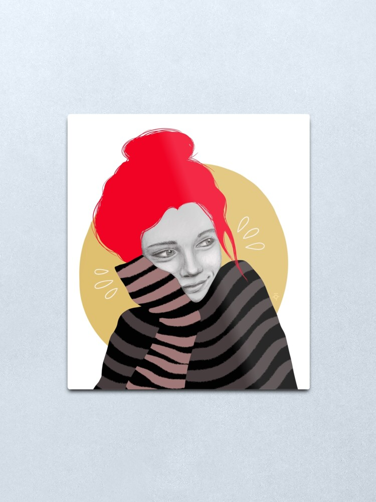 Alternate view of The red haired girl in love, illustration Metal Print