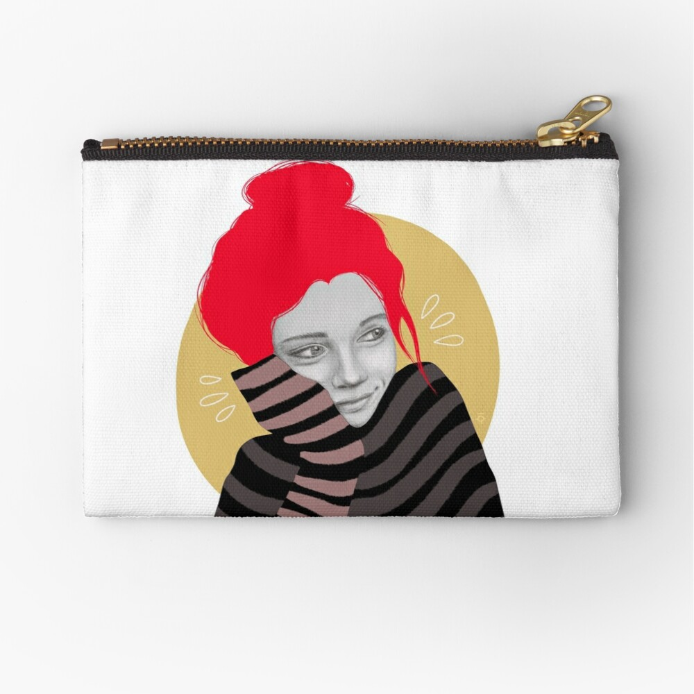 The red haired girl in love, illustration Zipper Pouch
