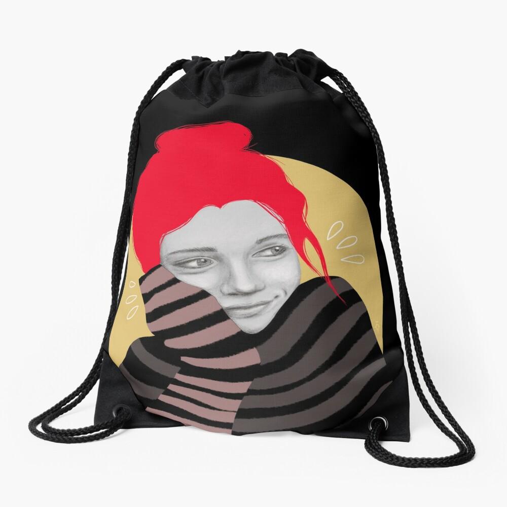 The red haired girl in love, illustration Drawstring Bag