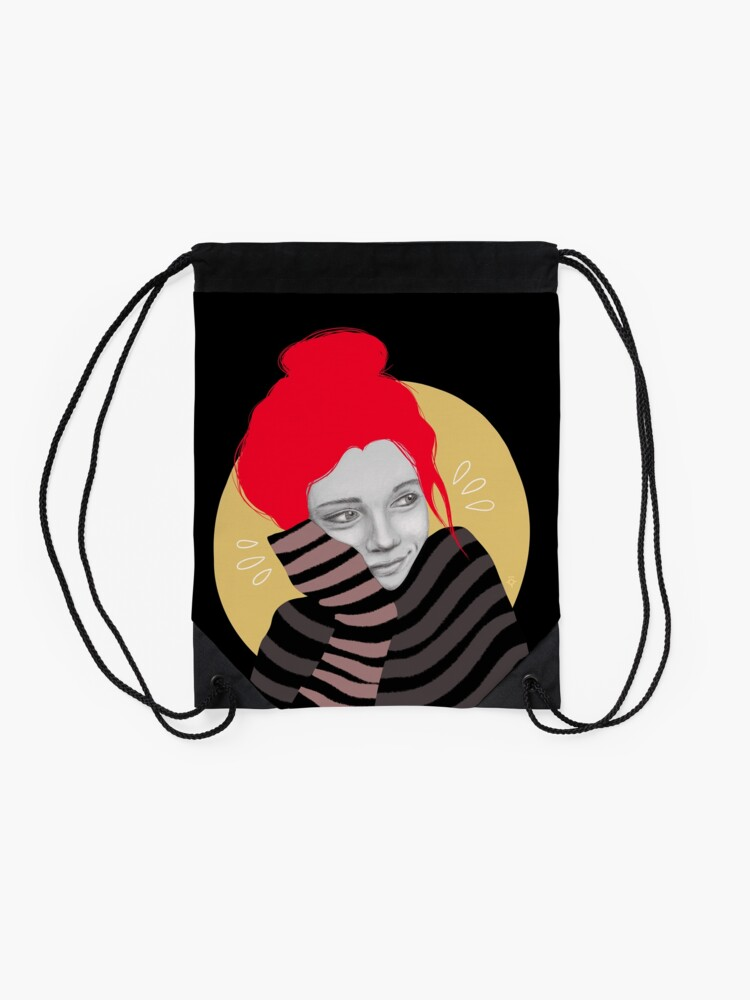 Alternate view of The red haired girl in love, illustration Drawstring Bag