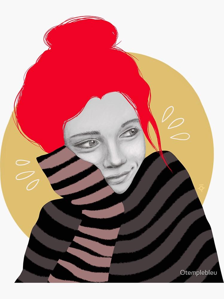 Das rothaarige Mädchen in der Liebe, Illustration von Otemplebleu