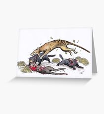 Thylacine attacking the devil Greeting Card