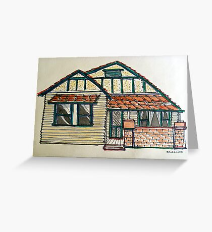Californian bungalow. Melbourne, Australia. Pen and wash on fabric. Greeting Card