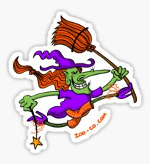 Crazy Witch Jumping Sticker