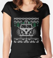 Vintage Retro Camper Van Sweater Knit Style Women's Fitted Scoop T-Shirt