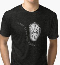 Salvador Dali Inspired Melting Clock. Time is melting away. Tri-blend T-Shirt