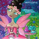 Whimsical Fairy Girl in Pink at Garden Tea Party with Cupcake Purse by erica lubee  ~ SkyBlueWithDaisies