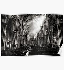 Inside Exeter cathedral in BW Poster