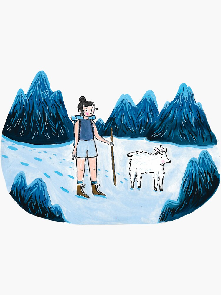 Hiking lady and Mountain Goat by emilienunez