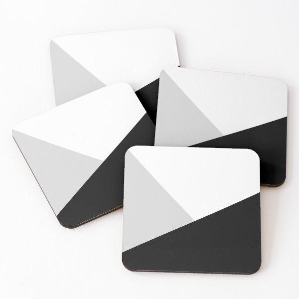 Monochromatic Black White Gray Color Block Coasters (Set of 4)