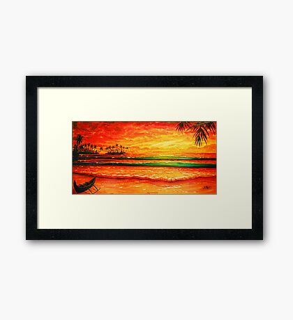 Golden evening with my canoe  Framed Print