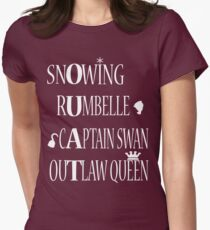 OUAT Ships (White Text) Womens Fitted T-Shirt