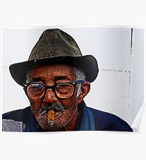 Old Cuban man & cigar, Trinidad, Cuba Poster