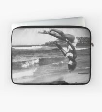 Peggy Bacon in mid-air backflip, Bondi Beach Laptop Sleeve