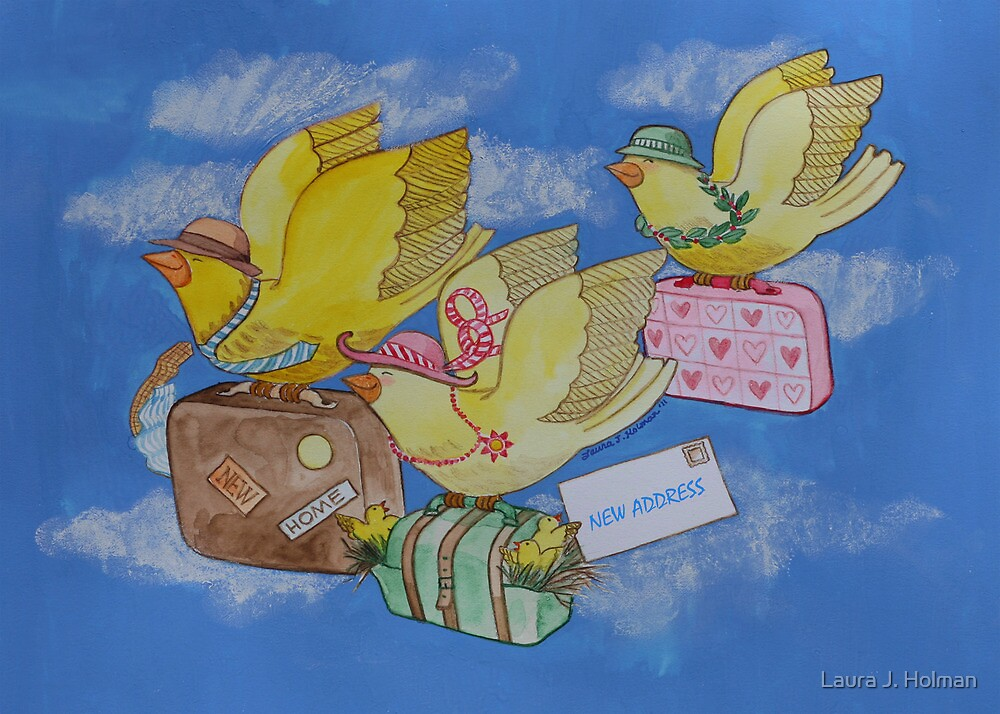 Yellow Birds on the Move with Luggage to New Home by Laura J. Holman