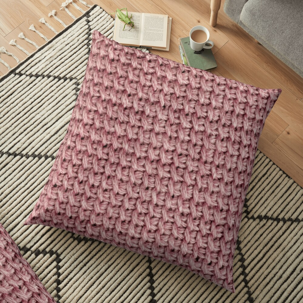 Dusty pink knit crochet print Floor Pillow