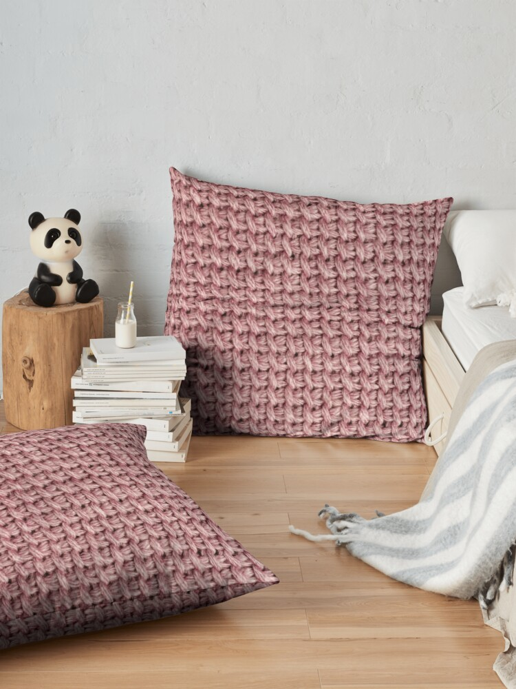 Alternate view of Dusty pink knit crochet print Floor Pillow