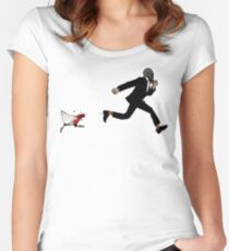 Leroy Having To Deal With The Unexpected Return Of That Dreaded No Good Evil Zombie Chicken Women's Fitted Scoop T-Shirt