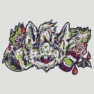 Vampire Bat - Green&Red by Madison Cowles